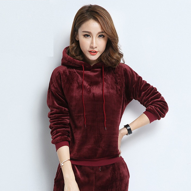 2017 New Hot Women 2 Piece Set Velvet Tracksuit Casual Pant And Sweatsuits Velours Suits Plus Size Long Sleeve Sportsuit 2 Color