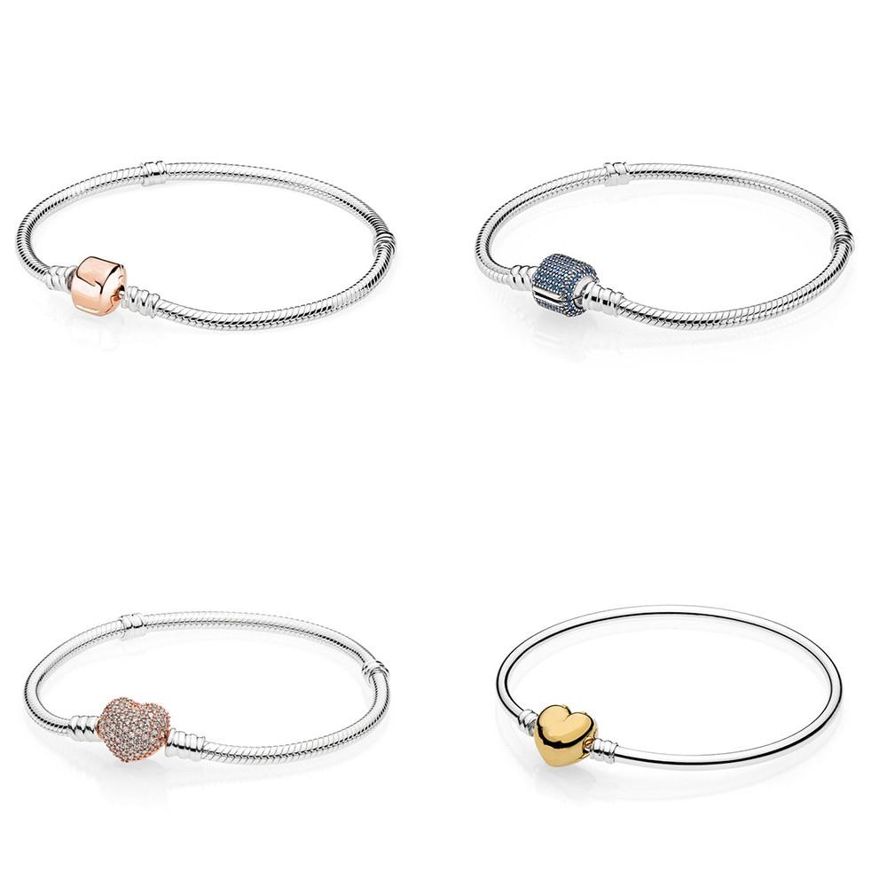 4 Style or Rose or bleu couleur serpent chaîne amour coeur bracelets pour femme de base bricolage bijoux à breloques