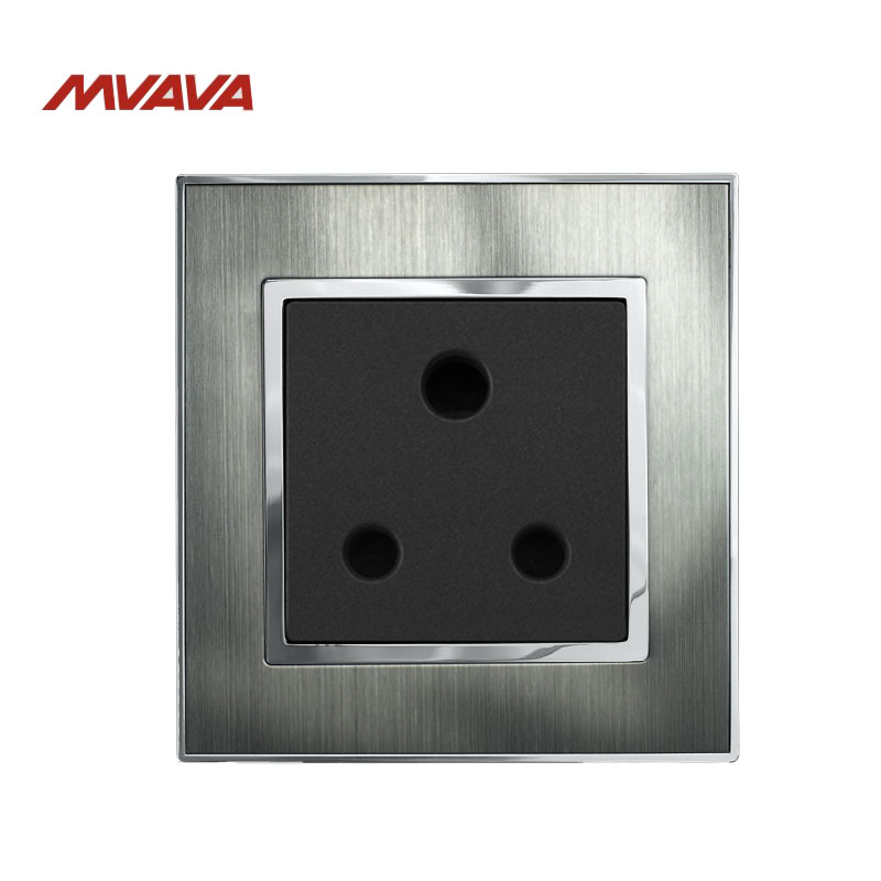 MVAVA 15A Round Pin Socket South Africa Standard Wall Plug Silver Satin Metal Outlet