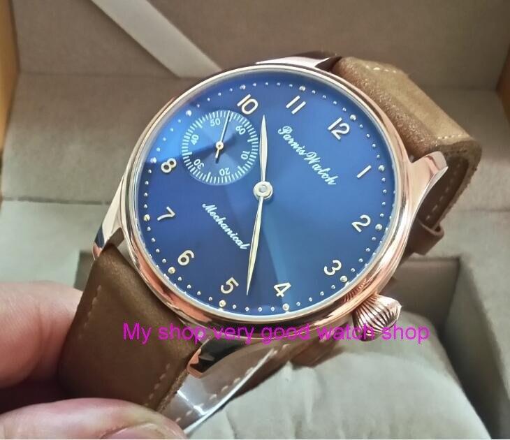 все цены на 44mm PARNIS blue dial 17 jewels Asian 6497/3600 Mechanical Hand Wind movement men's watch Rose gold case Mechanical watch 323A онлайн