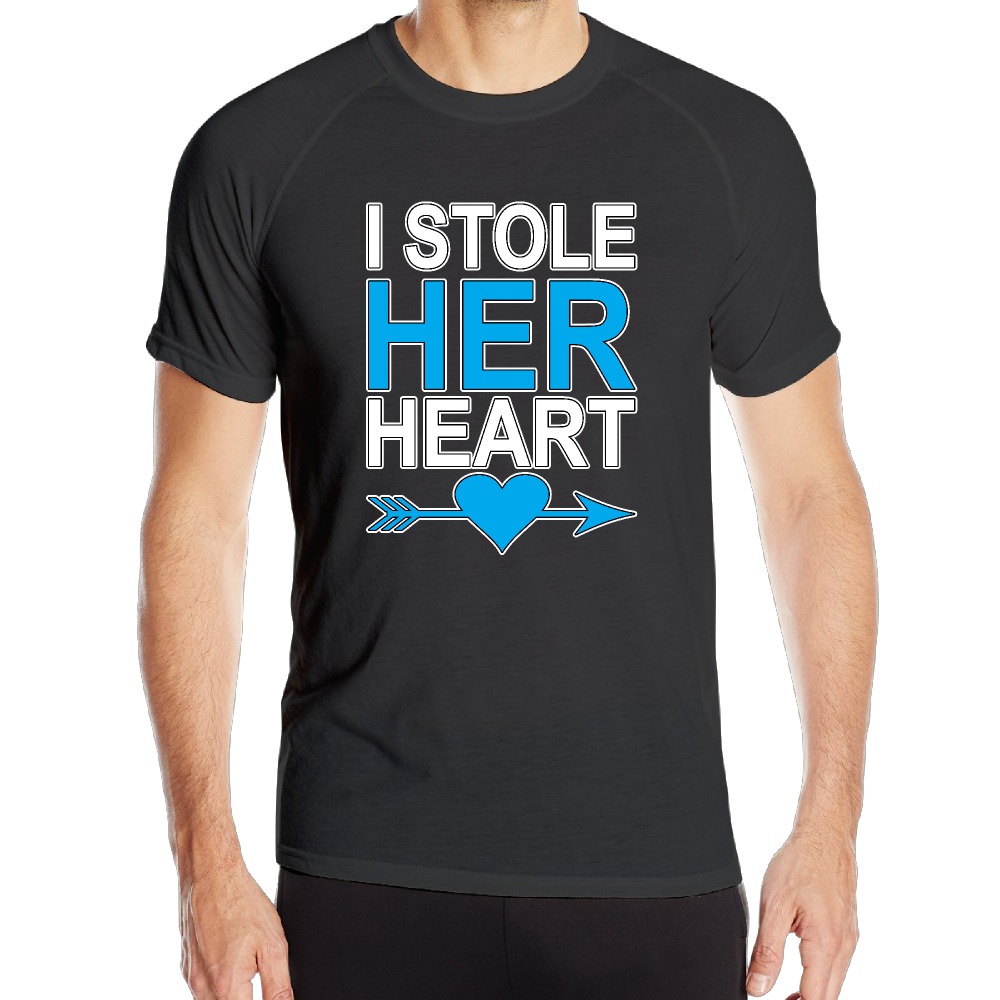 I stole her heart Cotton Printing O-Neck Men Shirts Streetwear Die Dye Sweat Short T Shirts