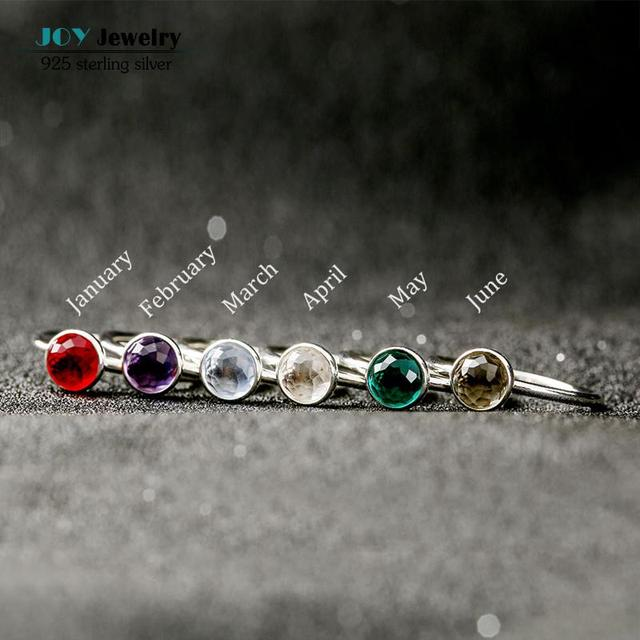 12 Colors 925 Sterling Silver Birthstone Rings For Women Floral Facets Crystal Stone Finger Ring Party Birthday Gifts Jewelry