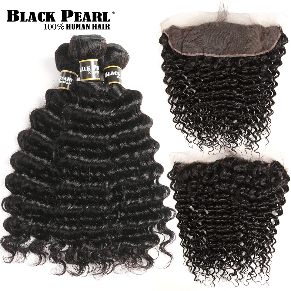 Black Pearl Pre-Colored Brasilian Deep Wave Bundles Med Frontal Non - Menneskelig hår (for svart)