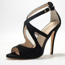 Classics Black Suede Leather Women's Stiletto Cross-tied Ankle Strap Cover Heel zapatos mujer With Buckle 2015 Women Shoes