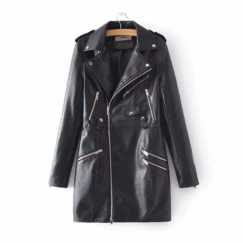 Explosion Models Autumn New women's Coat Long   Leather   Jacket   Leather   Jacket Women