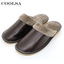 Coolsa/Новинка; зимние мужские тапочки из натуральной кожи; меховые теплые плюшевые кожаные шлёпанцы; оксфорды на плоской подошве; мужская домашняя водонепроницаемая обувь