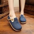 2017 Primavera Estilo Retro Sapatos Mulheres Apartamentos Flor Chinesa Linho Sapatos de Lona sapato feminino Tamanho 35-40