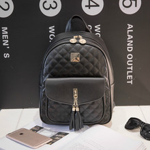 2019 spring and summer new PU backpack female simple casual college wind shoulder bag trend fashion ladies small black backpack
