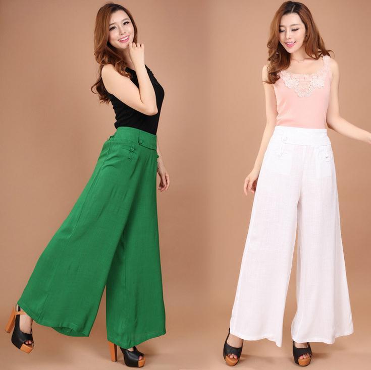 ada love store Summer Women's clothing Drape pants Thin cotton wide leg Female Loose Wide leg pants Five colors