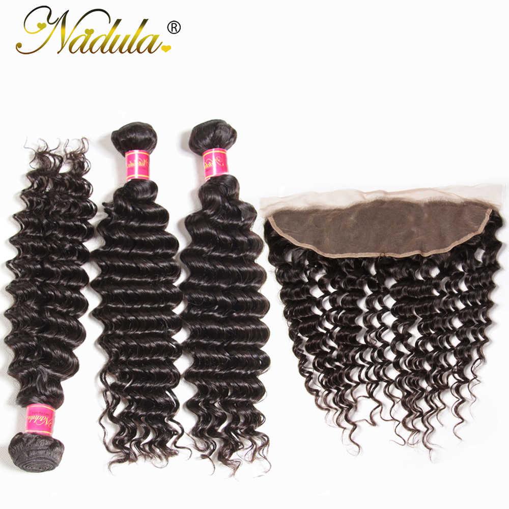 Paquetes de onda profunda de pelo de Nadula con pelo brasileño de Fronta tejido con cierre de encaje 100% cabello humano Color Natural cabello Remy