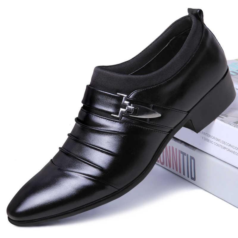 Sapato de bico fino formais sapatos homem sapatos oxford para os homens se vestem sapatos de casamento 2019 sapatos oxfords dos homens de couro homens zapatos hombre vestir