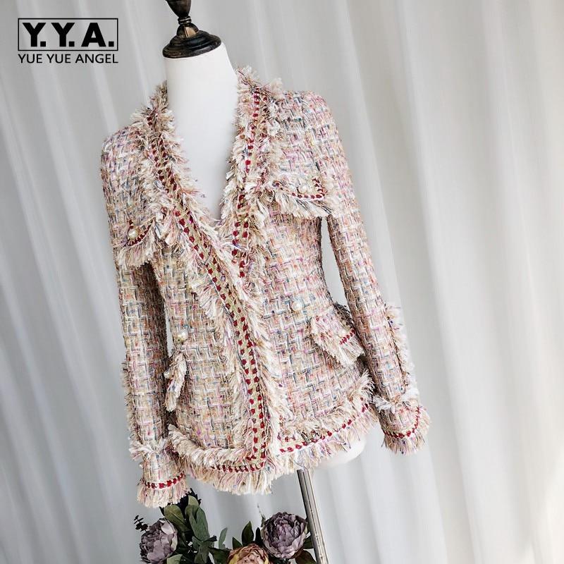As De Feminino Piste Spliced Dames Base 2018 Sergé Picture Same Veste Coréen Tweed Manteaux Femmes Noir Vestes Mode Casaco Automne wgnzqBU