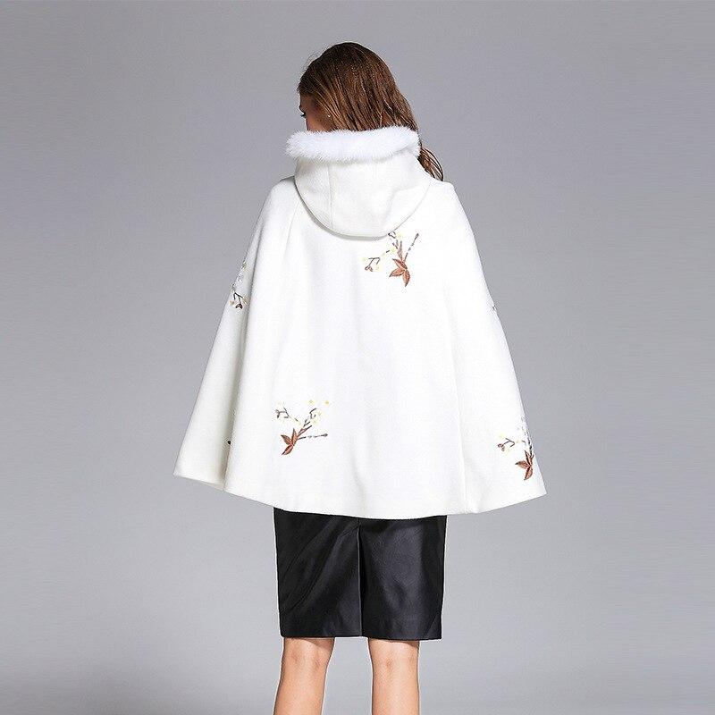 D'hiver 2017 Vêtements Fleur Noir Haute Broderie blanc Court Femmes Manteau Qualité Automne Casual Rétro Veste Blanc Xxl Nouveau Lâche Manteaux ZrqfrI
