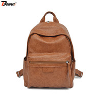 vintage backpack leather women bags fashion teenagers girls back pack female bagpack Soft Solid ladies backbag Style 2019 new