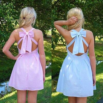 Женские летние шифоновое платье Повседневное рукавов спинки Короткие мини-платье