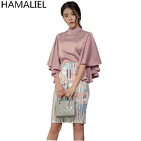 HAMALIEL Office Lady Pink Satin Flare Sleeve Stand Collar Blouse Tops + Printting Pencil OL Skirt 2018 Autumn Women 2 Piece Set