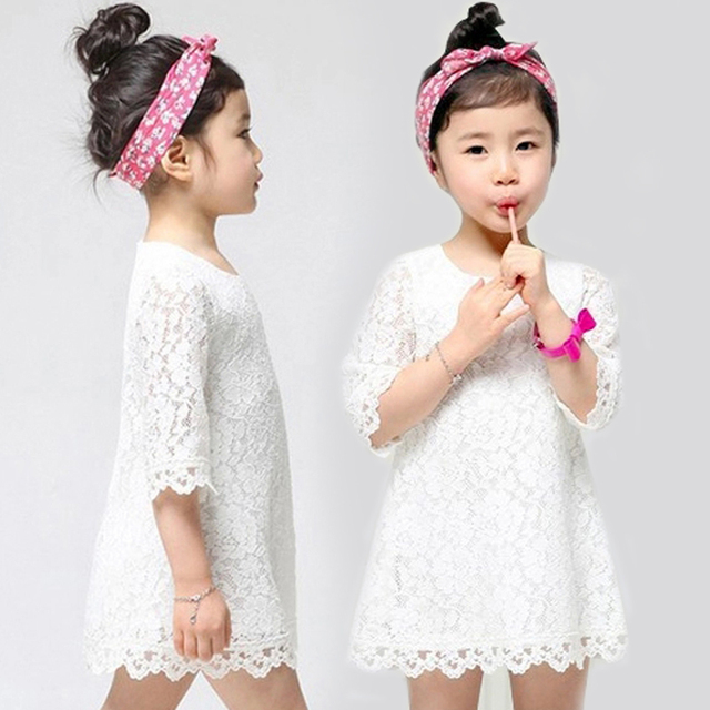 f3909bcd809f8 US $11.99 |Free Shipping Summer New Baby Girls Lace Dresses Half sleeve  floral tight dress Children Clothes Girls toddler princess Dress-in Dresses  ...