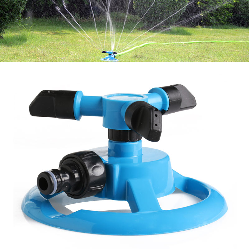 New 360 Rotate 3 nozzles Auto Sprinkler Grass Garden Lawn Heavy Irrigation Tool w110