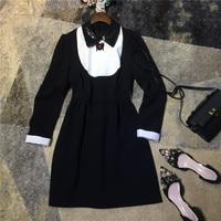 High quality women fashion cute bug beaded peter pan sequin collar dress long sleeve black white color block a line mini dresses