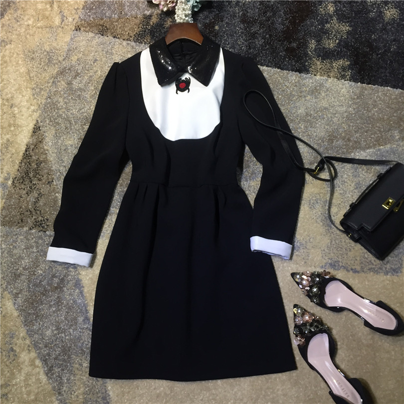 High quality women fashion cute bug beaded peter pan sequin collar dress long sleeve black white color block a-line mini dresses