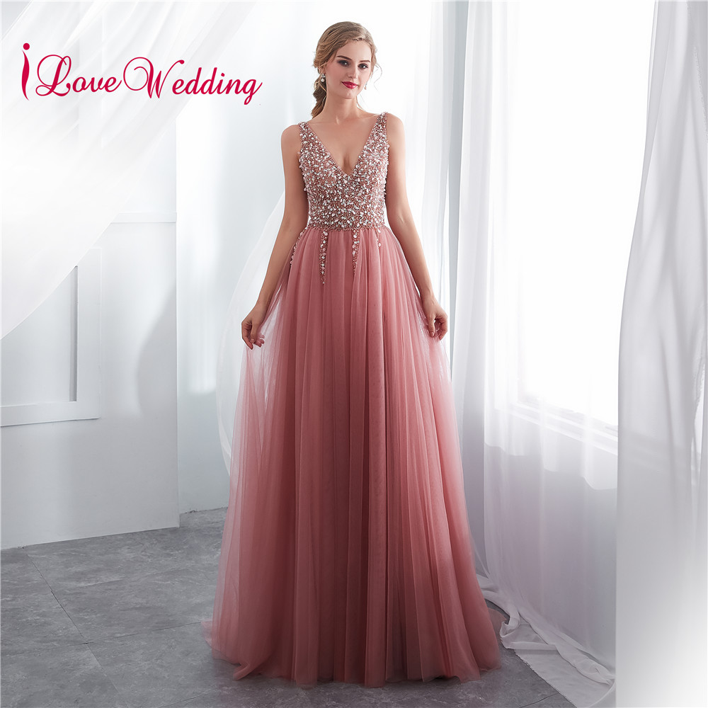 iLoveWedding V Neck Beads Bodice Open Back A Line Long Evening Dress Party Elegant Vestido De