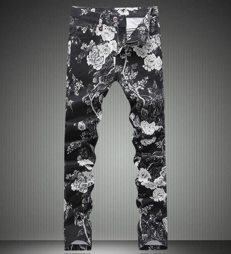ФОТО   Fashion New  Man Flower Print Black Slim Denim Jeans