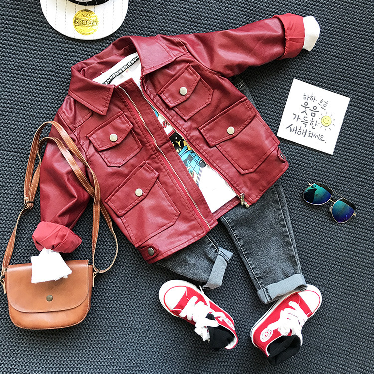 3pcs boys autumn spring clothing set red black jacket white shirt and jean set kids fashion all match clothes children 2-6 years altamont salman shirt jacket black