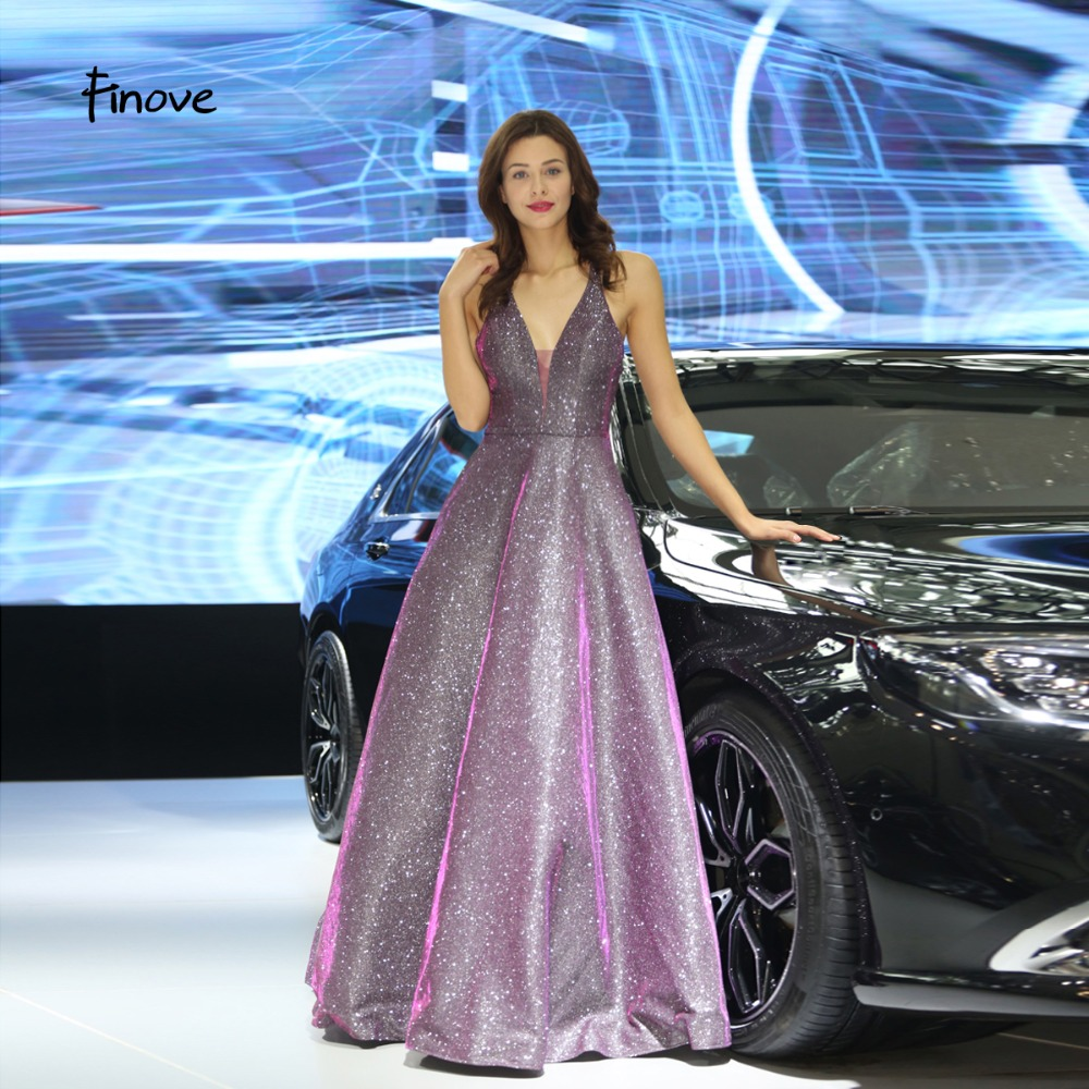 Finove Evening Dress 2019 Long Sparkle Materials Sexy V Neck Back Elegant A Line Formal Party