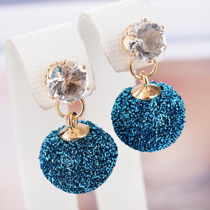 Fashion Round Ball Hohles Metall Bead Short Earring Women Jewelry Earring Delicate