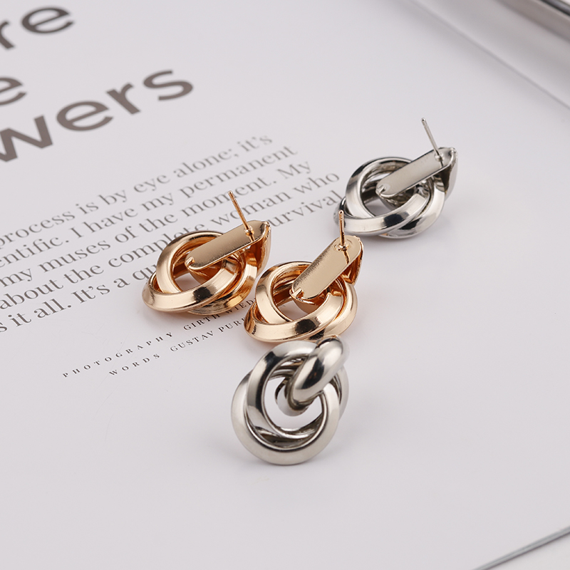 Flashbuy Gold Silver Alloy Drop Earrings For Women Exaggeration Earrings Wedding Simple Fashion Jewelry Trend Accessories 4
