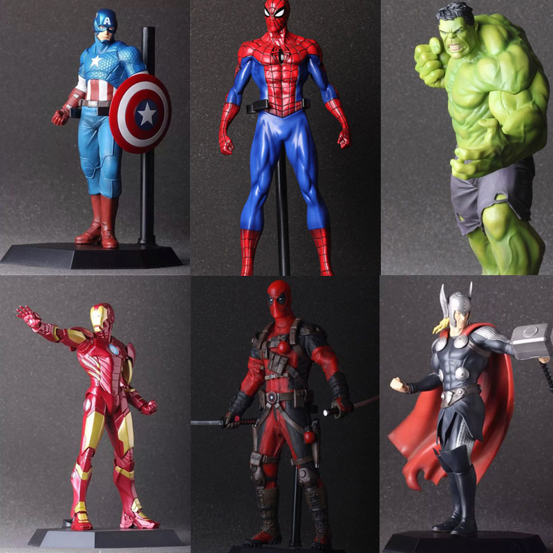 The Avengers 2 Hulk Iron Man Deadpool Captain America Thor Spiderman PVC Action Figure Model Wolverine Toy IronMan Superhero 1 6 scale 30cm the avengers captain america civil war iron man mark xlv mk 45 resin starue action figure collectible model toy