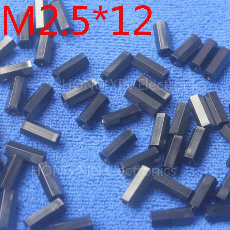 M2.5 * 12 1 pcs Preto nylon Standoff Spacer M2.5 Impasse Fêmea-Fêmea 12mm de Plástico Padrão Kit de Reparação peças de Alta Qualidade