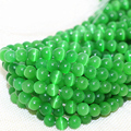 Factory price green smooth round opal cat eyes 4,6,8,10,12mm loose beads wholesale retail women jewelry making 14inch B1584