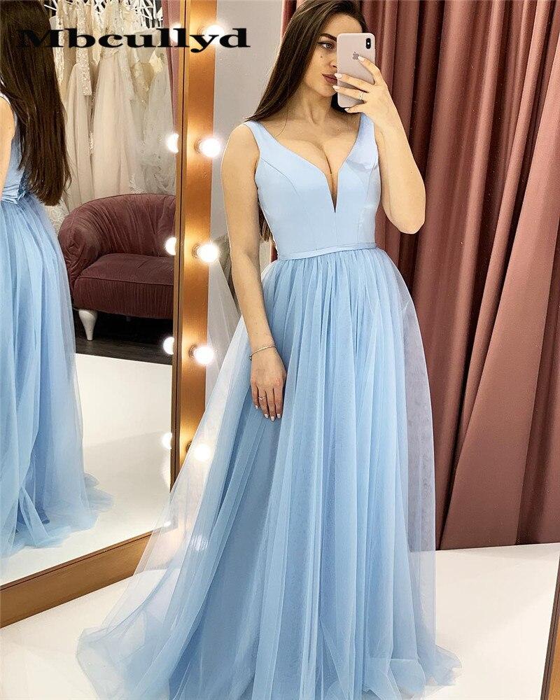 Mbcullyd Deep V-neck   Prom     Dresses   Long 2019 Light Blue Tulle Formal Evening   Dress   For Black Girls Cheap robe de soiree