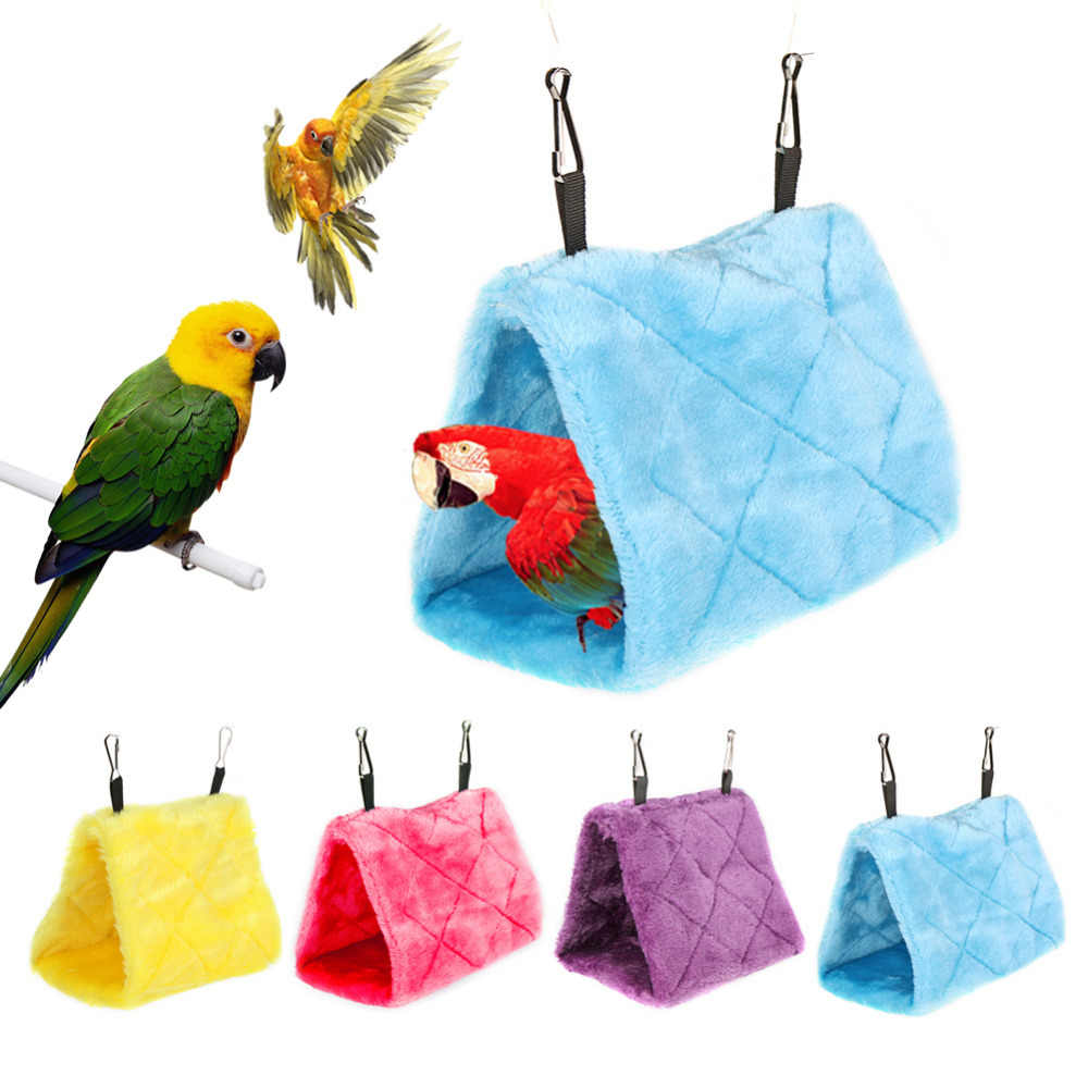 Warm Bird Hammock Soft Plush Fleece Bird Parrot Coral Velvet Cage Snuggle Happy Hut Tent Bed Bunk Toy Hanging Cave