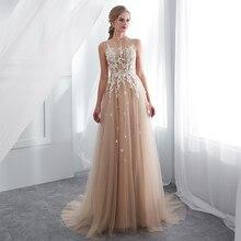 Женское вечернее платье до пола, длинное платье цвета шампанского, без рукавов, бальное платье для выпускного вечера, 2019