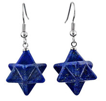 FYJS Unique Silver Plated Merkaba Symbol Lapis Lazuli Drop Earrings For Party Gift Jewelry