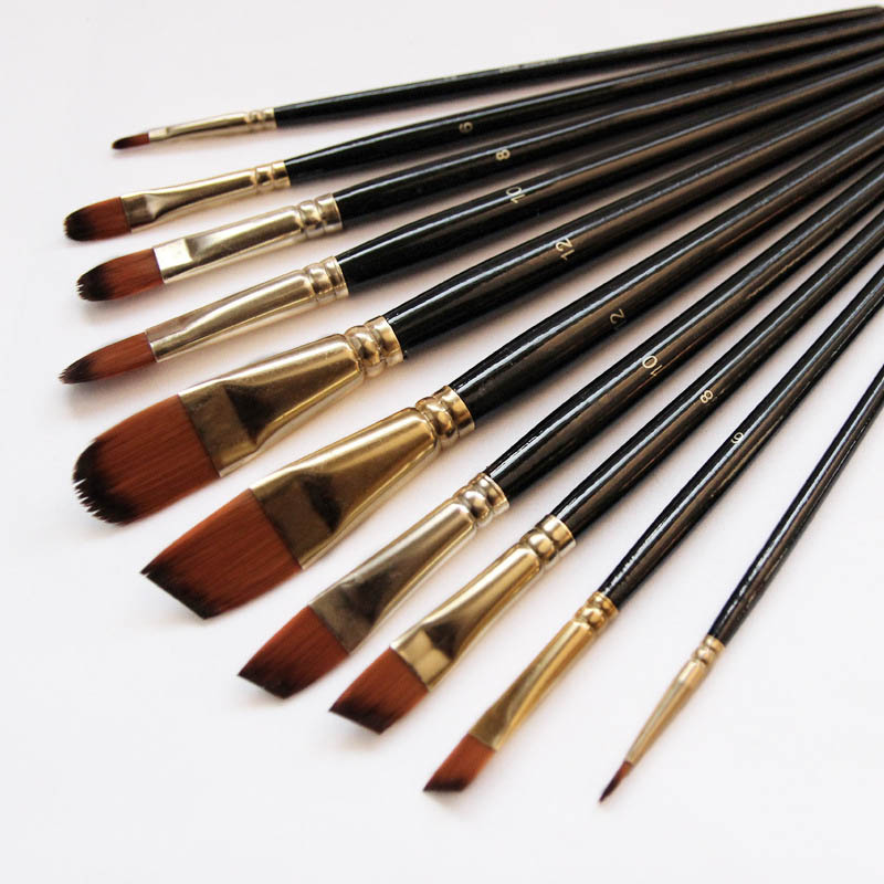 Artist Paint Brush Set 5Pcs High Quality Nylon Hair Wood Black Handle Watercolor Acrylic Oil Brush Painting Art Supplies image