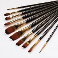 Ensemble de pinceaux pour peinture huile acrylique aquarelle, 5 pièces, brosses de grande qualité à poils en nylon, manche noir en bois, modèle artistique