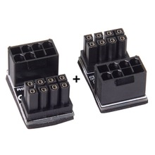 2 PCS ATX 8Pin male to Female 180 Degree Angled Power Adapter for Desktops Graphics Card