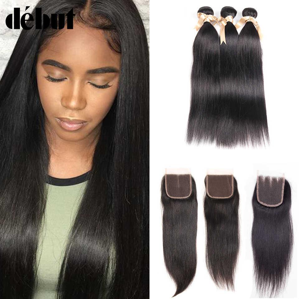 Дебютные волосы 28 дюймов бразильские прямые волосы плетение пучки с закрытием не Реми волосы 3/4 пучки с волосы для наращивания наращивание