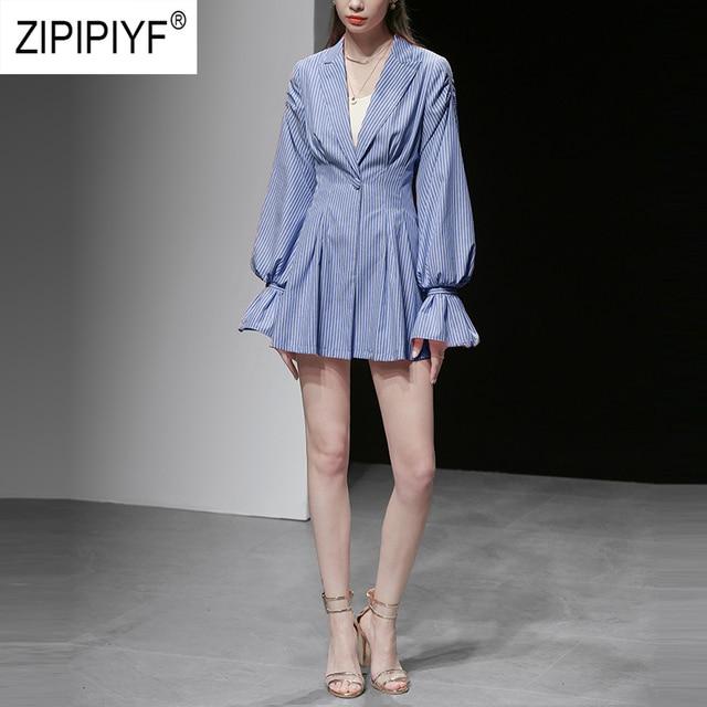 Unique Design Simple Fashion Women jacket Striped Single Button Long Lantern Sleeve Turn Down Neck Coats Casual Blazers 1111