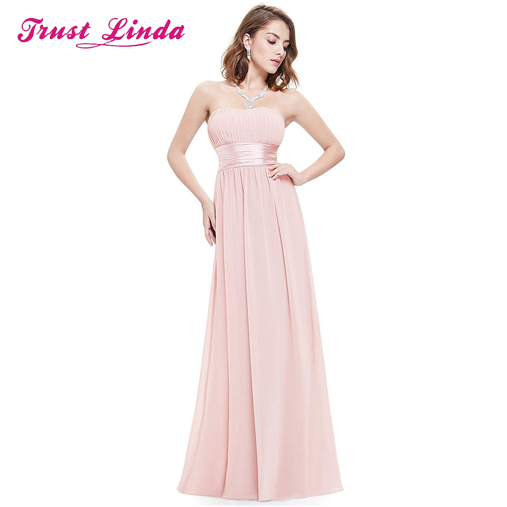 Fashion   Bridesmaid     Dress   Strapless A-line Chiffon Floor Length Prom Gown for Wedding Party Custom Made