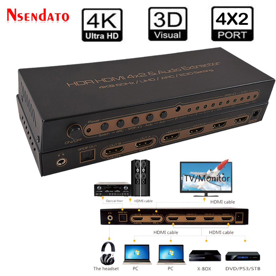4K*2K HDR HDMI 2.0 Spliite 4X2 Audio Extractor For DTS Dolby ARC SPDIF EDID 4 In 2 Out HDMI Converter Switch Switcher Adapter 4k 60hz uhd hdmi 2 0 audio extractor switch hdr hdmi 3x1 converter with ir spdif l r output support ac3 3d arc for ps4 xbox dvd