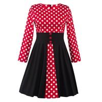 Womens Retro O Neck Polka Dot Dress Vintage Long Sleeve 1940s 50s Style Pin Up Rockabilly