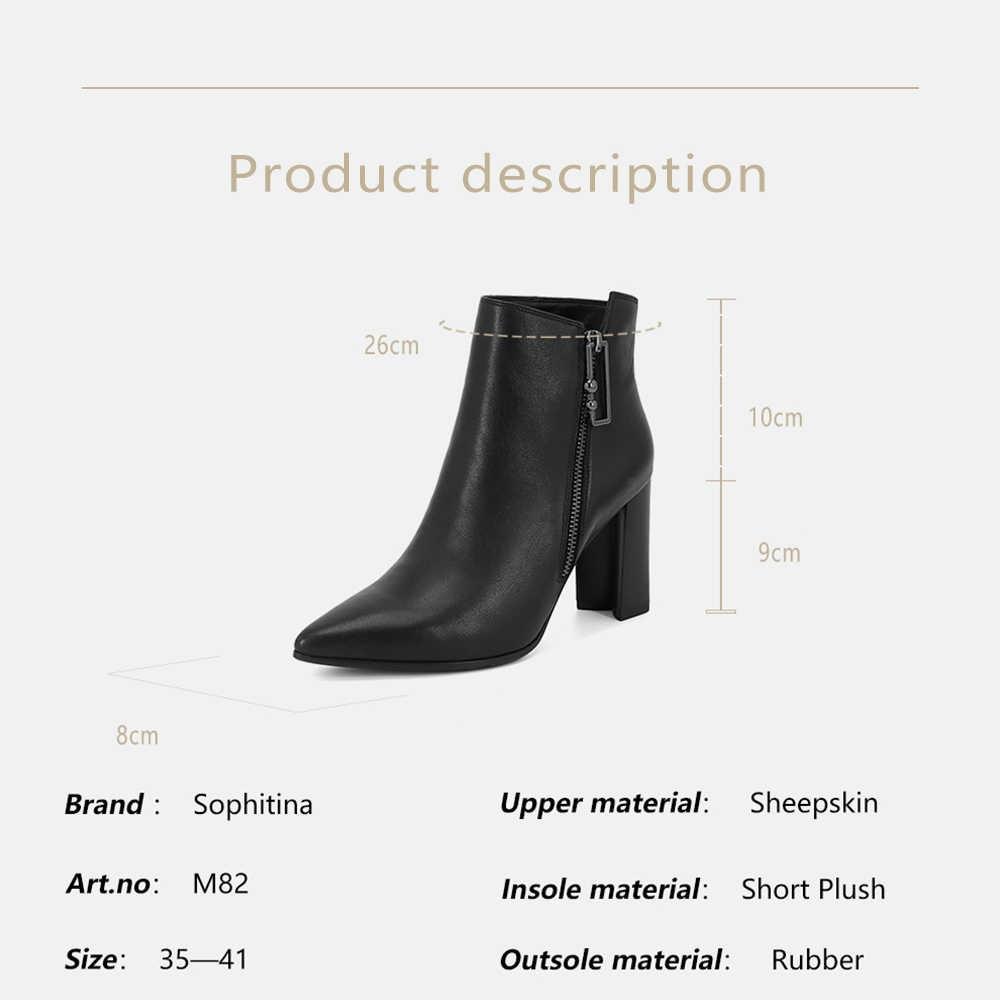 SOPHITINA 2019 Yeni Koyun Derisi yarım çizmeler Seksi Sivri Burun Yüksek Topuk Kadın Ayakkabı Yüksek Kaliteli Metal Fermuar Sıcak Kışlık Botlar M82