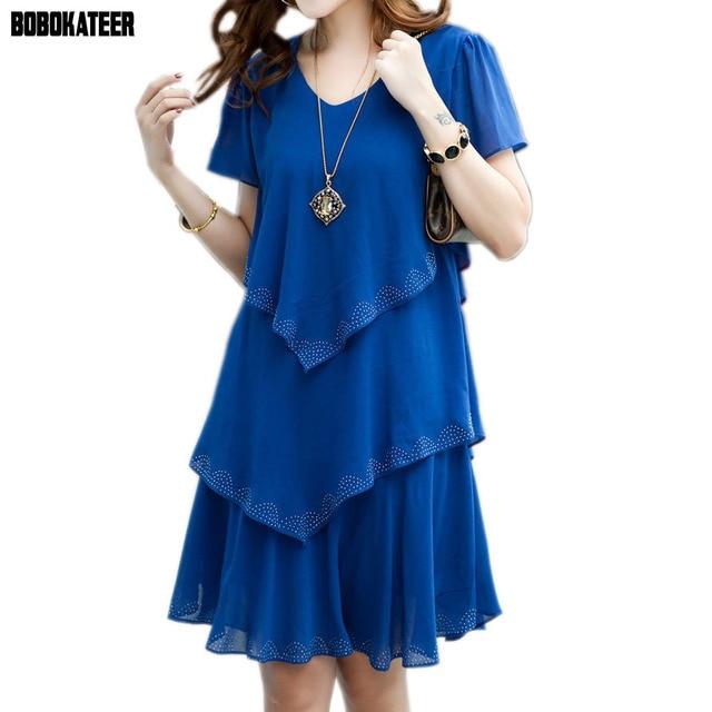 BOBOKATEER Summer Dress 2017 Blue Party Dresses Women Dress Chiffon Robe Sexy Vestido De Festa 4XL 5XL Plus Size Women Clothing