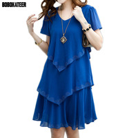Vestidos Femininos 2015 Women Summer Dress Casual Sexy Vintage V Neck Short Sleeve Black Blue Chiffon
