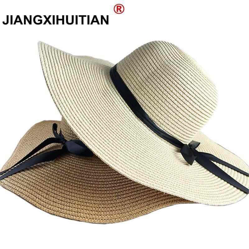 6456623a21c Summer Hats For Women Chapeau Femme Sun Hat Beach Panama Straw Hat Large  Wide Brim Black