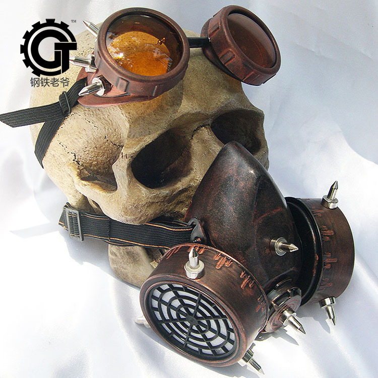 Steampunk Glasögon Gasmasker Glasögon Cosplay Props Gothic Anti-Fog Haze Män och Women Mask